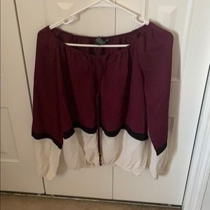 Maroon, black, and white top